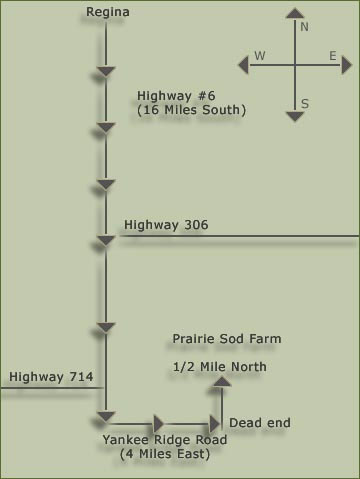 Prairie Sod Farm Map South of Regina